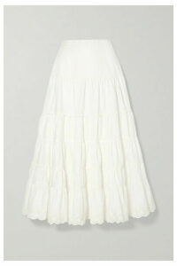 Ulla Johnson - Fleet Broderie Anglaise-trimmed Cotton-poplin Midi Skirt - White