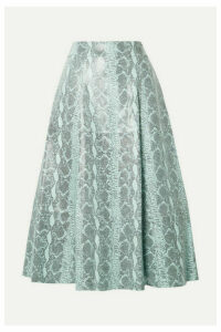 Alice + Olivia - Sosie Snake-print Leather Midi Skirt - Sky blue