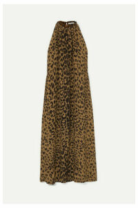 Bella Freud - Edie Leopard-print Silk Crepe De Chine Halterneck Maxi Dress - Brown
