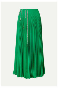 Christopher Kane - Squiggle Crystal-embellished Pleated Crepe De Chine Midi Skirt - Green