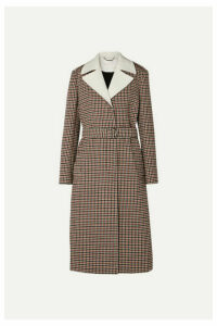 Chloé - Belted Checked Wool-blend Coat - Beige