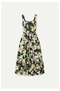 Dolce & Gabbana - Lace-up Floral-print Cotton-poplin Midi Dress - Black