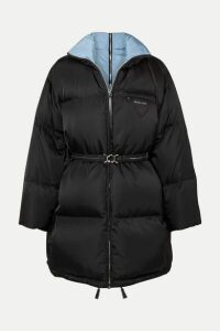 Prada - Belted Quilted Shell Down Coat - Black