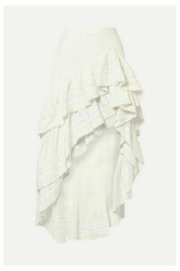 LoveShackFancy - Lisette Asymmetric Ruffled Crochet-trimmed Cotton-voile Skirt - White