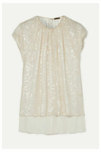 Adam Lippes - Gathered Sequined Crepe Top - Ivory