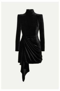 Alex Perry - Parker Draped Velvet Mini Dress - Black