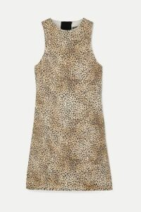 Alexander Wang - Leopard-print Denim Mini Dress - Leopard print
