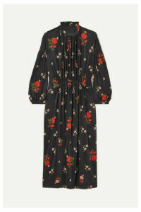 Simone Rocha - Gathered Floral-print Satin-jersey Midi Dress - Black