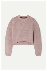 alexanderwang.t - Cropped Ribbed Cotton-blend Sweater - Lilac