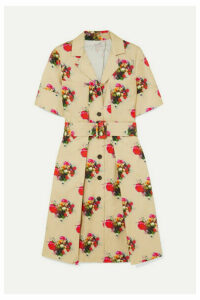 Adam Lippes - Floral-print Belted Cotton-twill Dress - Beige