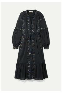 Ulla Johnson - Vanita Embellished Cotton-gauze Midi Dress - Midnight blue