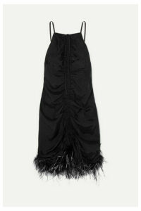 alice McCALL - Favour Feather-trimmed Ruched Satin Mini Dress - Black