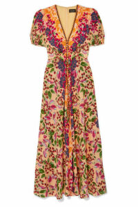 Saloni - Lea Floral-print Silk Crepe De Chine Maxi Dress - Red
