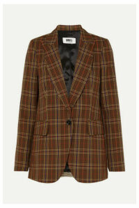 MM6 Maison Margiela - Paneled Checked Jacquard Blazer - Brown
