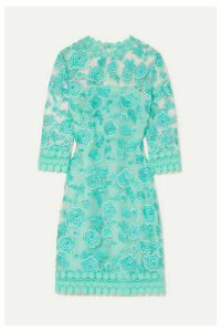 Naeem Khan - Guipure Lace-trimmed Embroidered Tulle Mini Dress - Light blue