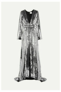 Galvan - Stardust Sequined Chiffon Gown - Silver