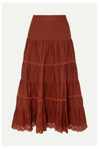 Ulla Johnson - Fleet Tiered Broderie Anglaise-trimmed Cotton-poplin Midi Skirt - Burgundy