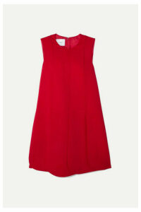 Valentino - Pleated Silk-crepe Mini Dress - Red