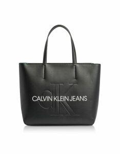 Calvin Klein Collection Designer Handbags, Sculpted Monogram Tote Bag w/ Signature