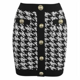 Balmain Button Tweed Skirt
