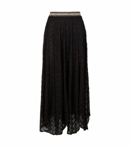 Metallic Crochet-Knit Skirt
