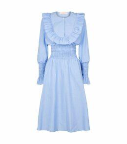 Cotton Smocked Ruffle Dress