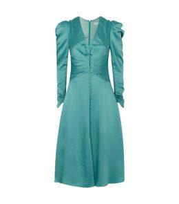 Sateen Ruched V-Neck Dress