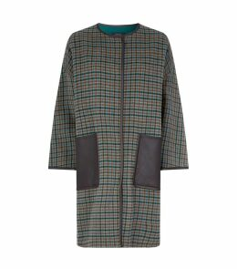 Leather Trim Tartan Coat