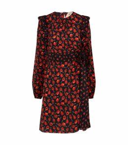 Apple Print Silk Dress