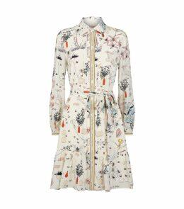 Silk Floral Print Shirt Dress