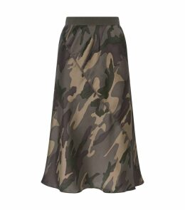 Silk Camouflage Midi Skirt