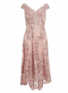 Womens *Quiz Pink Bardot Dip Hem Dress- Pink, Pink