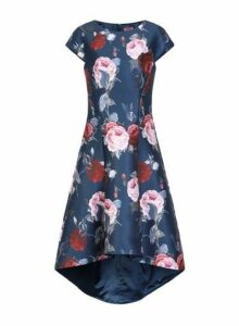 Womens *Chi Chi London Floral Printed Dip Hem Dress- Navy, Navy