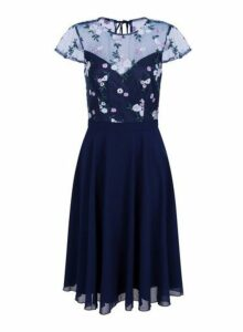 Womens *Chi Chi London Navy Embroidered Midi Dress, Navy