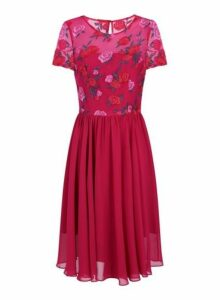 Womens *Chi Chi London Pink Floral Embroidered Midi Dress, Red