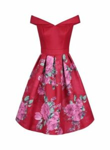 Womens *Chi Chi London Red Floral Printed Bardot Midi Dress- Red, Red