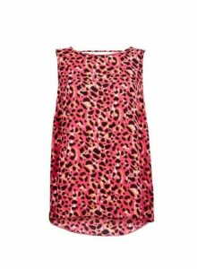 Womens Pink Animal Print Top- Pink, Pink