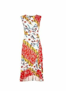 Womens Red Floral Mix Print Wrap Dress- Red, Red