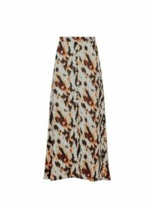 Womens Multi Colour Tie Dye Midi Skirt- Brown, Brown