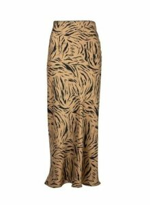 Womens Multi Colour Sienna Satin Midi Skirt- Brown, Brown