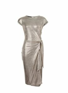 Womens Gold Shimmer Tie Side Pencil Dress- Gold, Gold