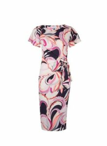 Womens **Lily & Franc Pink Swirl Printed Manipulated Dress- Pink, Pink