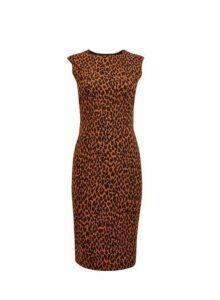 Womens Brown Animal Print Pencil Dress, Brown