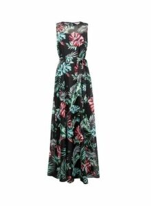 Womens **Billie & Blossom Tall Black Floral Print Maxi Dress- Black, Black