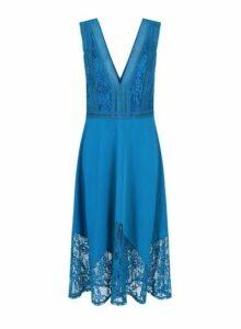 Womens **Little Mistress Blue Lace Hem Dress- Blue, Blue