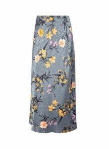 Womens Blue Jacquard Floral Print Satin Midi Skirt- Blue, Blue