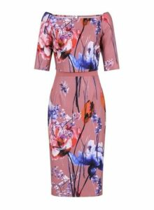 Womens **Little Mistress Blush Floral Print Bardot Dress- Pink, Pink