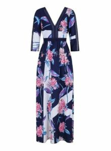 Womens **Little Mistress Navy Floral Print Maxi Dress- Navy, Navy