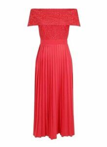Womens **Little Mistress Red Pleated Hem Maxi Dress- Red, Red