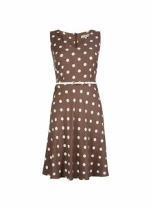 Womens **Billie & Blossom Petite Taupe Spot Print Dress- Brown, Brown
